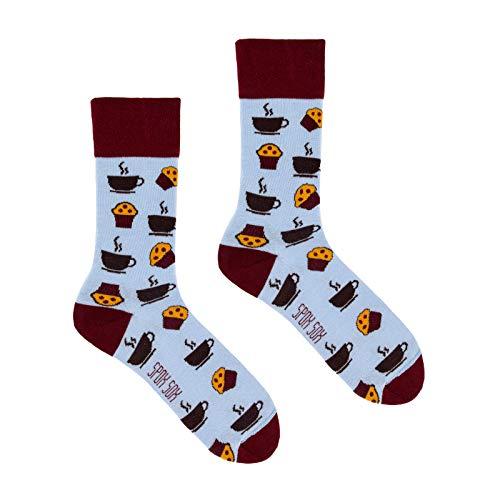 Spox Sox Casual Unisex - mehrfarbige, bunte Socken für Individualisten, Gr. 36-39, Kaffee und Muffins