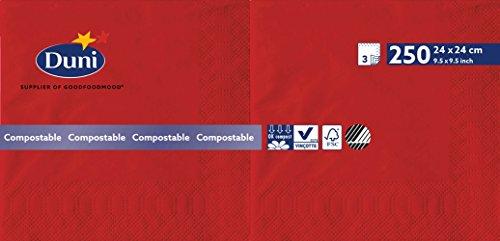 Duni 168414 3 plis Serviettes en papier, 24 cm x 24 cm, Rouge (lot de 2000)