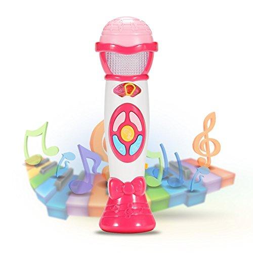 ThinkMax Juguete Micrófono Karaoke, Cambio De Voz Y Grabación De Micrófono, Juguete Educativo Temprano En Música para Niños (Rosa)