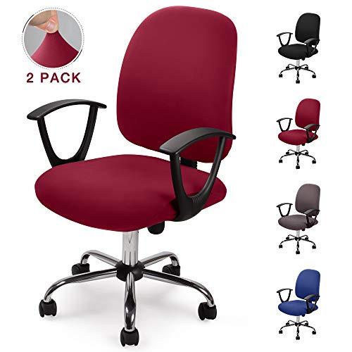 Bezug für Bürostuhl Bürostuhl-Bezug Waschbarer elastischer Sitzbezug Computer-Bürostuhl Bezug Universal Stuhl Bezüge Drehstuhl Bezüge Set für Bürostuhl Computer Stuhl Armlehnen Stuhl (Weinrot, 2)