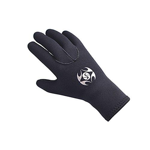 PAWHITS Neoprenhandschuhe 3mm Thermohandschuhe Winterhandschuhe wasserdichte Anti-Rutsch-Handschuhe für Männer und Frauen Herren Schwarz (S)