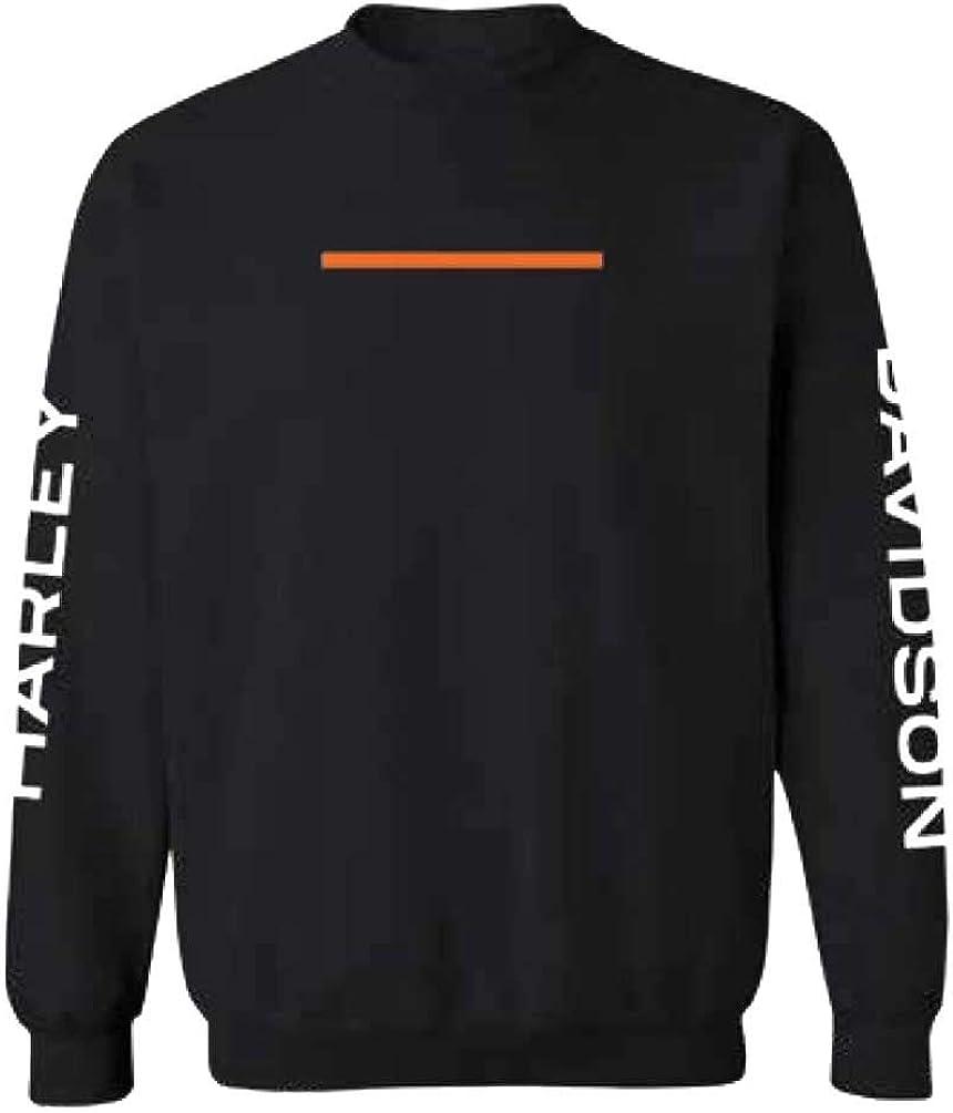 Harley-Davidson Men's Max 67% OFF Hyphen Super sale period limited Crew-Neck Bla - Pullover Sweatshirt