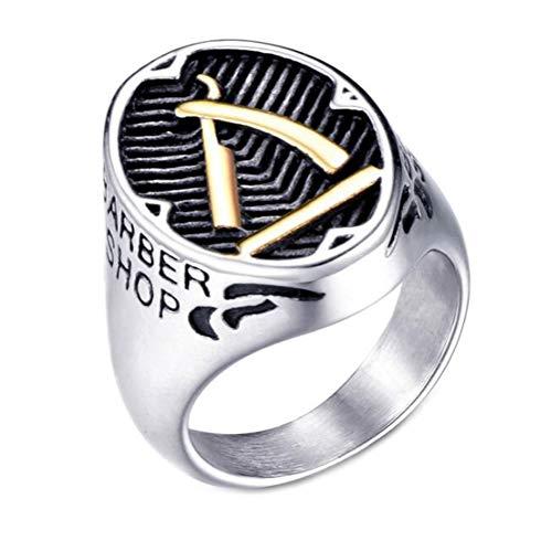 PAURO Herren Ring Edelstahl Barbier Geschäft Dekor Punk Finger Rasierapparat Band Silber Größe 65