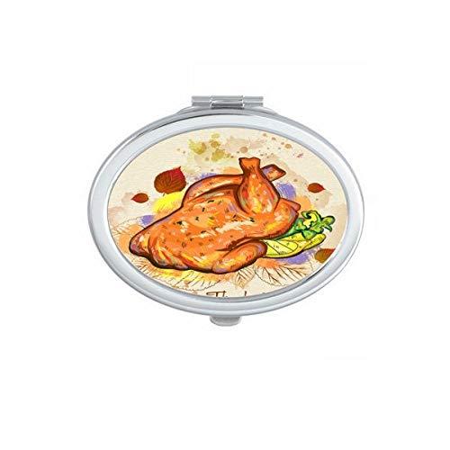 DIYthinker Happy Day Thanksgiving Turquie Motif Ovale Maquillage Compact Miroir de Poche Portable Mignon Petit Miroirs Main Cadeau Multicolor
