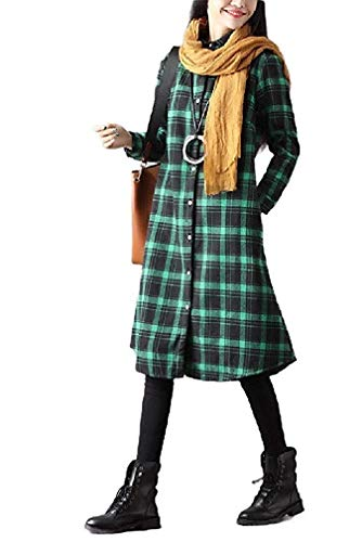 Women's Loose Fleece Lined Casual Plaid Outwear Jacket Coat