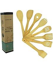 Utensilios de cocina madera Bambú 8 Piezas, espátula cuchara tenedor colador 30 x 6 cm, antiadherente 100% Eco-Friendly