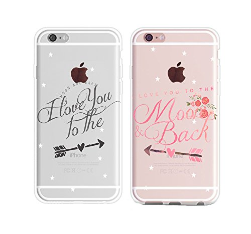 Couple Cases for Her,Cute Couples Things for Girlfriend Boyfriend,I Love You to The Moon and Back Couple Matching Pink Funny Soft Clear Love Forever Quotes Case for iPhone 7 Plus/iPhone 8 Plus