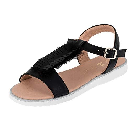 Modische Mädchen Sandalen Sandaletten Kinder Schuhe mit Schnalle M567sw Schwarz 34 EU