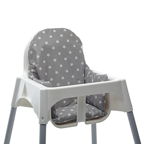 Messy Me High Chair Cushion for IKEA Antilop Highchair. Easy to fit and Fully Wipe Clean. Also fits IKEA BLANES and Bebe Style 2 in 1 Classic high Chairs(Soft Grey Stars)