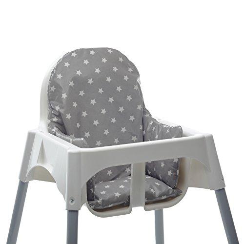 Messy Me- Cojín de asiento. Silla alta IKEA Antilop- Limpieza fácil de hule- tela- Refuerzo de silla de bebé para comidas (Gris con estrellas)