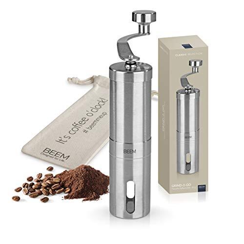 BEEM GRIND-2-GO Manuelle Kaffeemühle – 40 g | Kegelmahlwerk | Mahlgrad-Einstellung stufenlos | Baumwollbeutel | Kaffeemühle manuell | Edelstahl | Kaffee (manuelle Kaffeemühle)