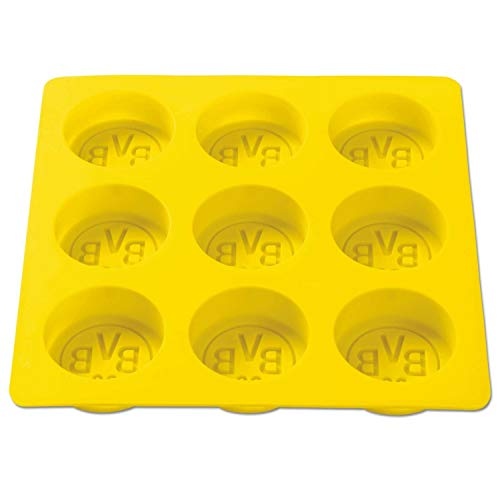 Borussia Dortmund BVB Eiswürfelform für 9 Eiswürfel, Silikon, Gelb, cm, 17 x 17 x 2 cm, 1 Einheiten
