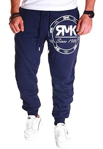 RMK Herren Hose Jogginghose Trainingshose Sporthose Fitnesshose Sweatpants Uni Einfarbig H.08 (5XL, Navy)