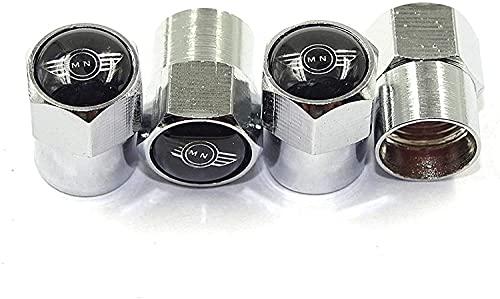 4 Piezas Neumáticos Tapas Válvulas para Mini Cooper Countryman Clubman R55 R56 R60 F54 F55 F56 F60, Antipolvo Tapones de Coche Decoración Accesorios