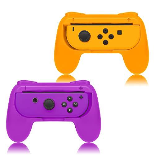 FYOUNG Griffe für Nintendo Switch Joy-Con, Grip für Nintendo Switch Joy Con Controller - Orange/Lila (2 Packungen)