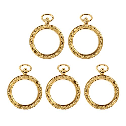 Sidougeri Metal Frame Pocket Watch Pendant Bezel Setting Resin Charm Jewellery Making Pack of 5