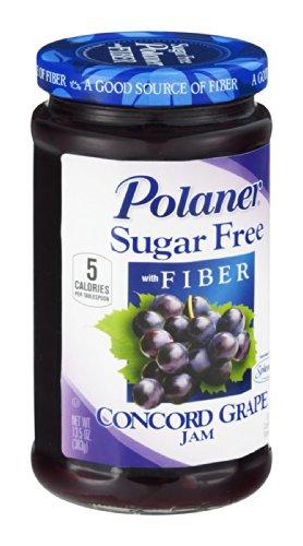 Polaner Sugar Free Concord Grape Jam With Fiber 13.5 oz - Pack of 12