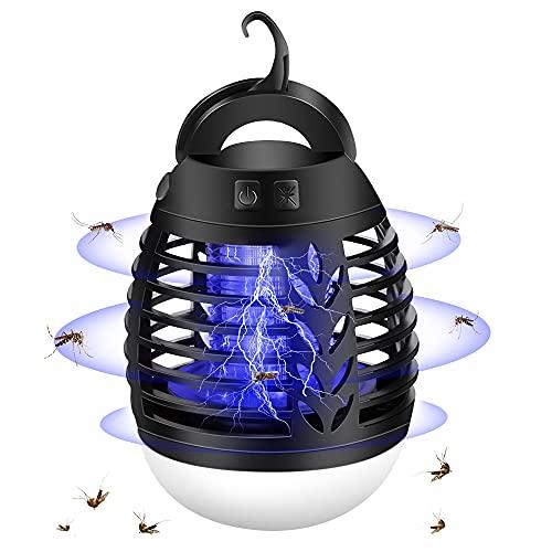 mixigoo Moskito Killer, 2-In-1 Elektrischer Insektenvernichter UV Bug Zappe USB Wiederaufladbar Mückenfalle Insektenfalle Mückenlampe Wasserdichter LED Latern für Innen Schlafzimmer und Aussen Gärten