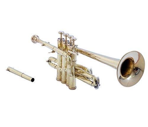 Piccolo Trompete Messing Bb Pitchgabel mit Gehäuse und MP