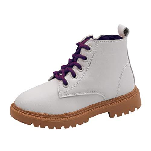 H.eternal(TM) Niños Bebé Niños Niños Niñas Niños Coloridos Lazo Cremallera Botas Cortas Casual Zapatos Zapatillas De Deporte Zapatos Cuna Zapatos De Invierno Cálido Botines, color Morado, talla 30 EU