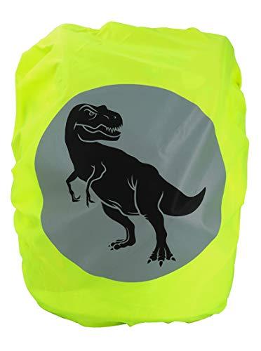 EANAGO Premium Schulranzen/Rucksack Regenschutz/Regenüberzug, ohne Nähte, 100% wasserdicht, mit Sicherheits-Reflektionsbild (T-Rex)