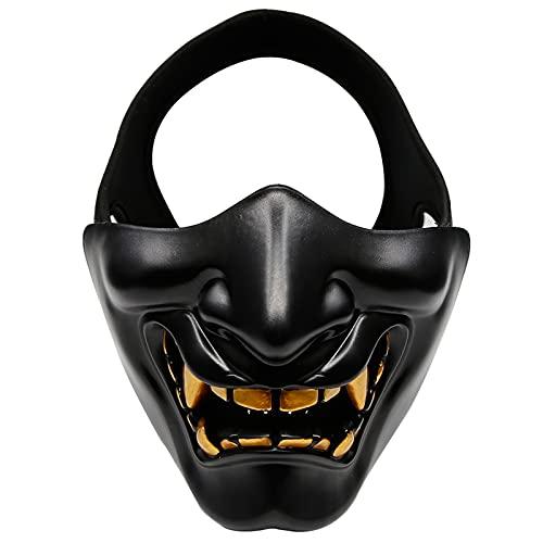 VPZenar Samurai Oni Mask Kabuki Hannya Japanese Demon Masks for Halloween Cosplay Masquerade, Protective Paintball Airsoft Half Face Masks Black