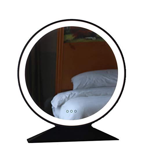 YXJBD Reisspiegel, make-up, reis-/bureau-spiegel, ronde spiegel, led-lichtspiegel, met licht, make-upspiegel, slaapkamer, schaduwspiegel, desktopspiegel 50cn zwart