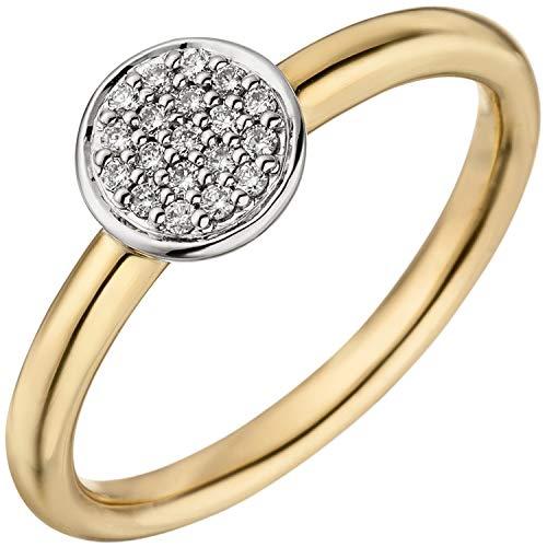 Jobo Damen Ring 585 Gold Gelbgold Weißgold Bicolor 19 Diamanten Brillanten Goldring Größe 54