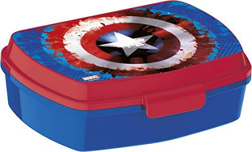 ALMACENESADAN 2042 Sandwichera Restangular Multicolor Capitan America Icono; Producto de plástico; Libre BPA; Dimensiones Interiores 16,5x11,5x5,5 cm