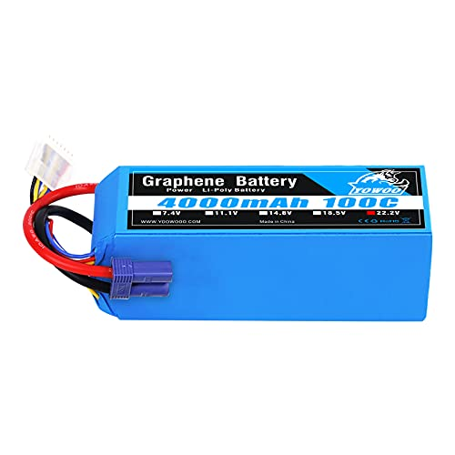 Yowoo Graphene Battery 22.2V 6S Lipo Battery 4000mAh 100C with EC5 Connector for Goblin Align Gaui 70MM 80MM 90MM EDF X-Class Drone Arrma 6s Cars RC Quadcopter Airplane Helicopter Truck