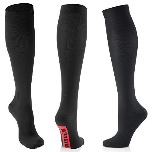 CAMBIVO 3 Paar Kompressionsstrümpfe Damen und Herren, Kompressionssocken, Compression Socks für Sport, Ski, Flug, Reise