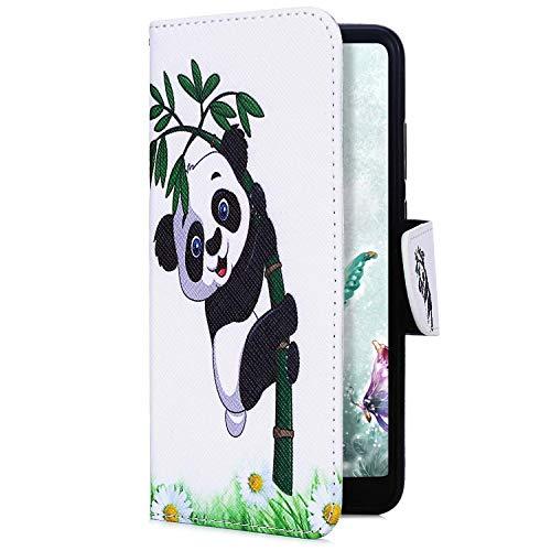 Uposao Kompatibel mit Xiaomi Redmi 7A Handyhülle Handy Tasche Retro Bunt Muster Brieftasche Schutzhülle Bookstyle Flip Case Wallet Cover Kartenfächer Magnet Klapphülle,Panda Bambus