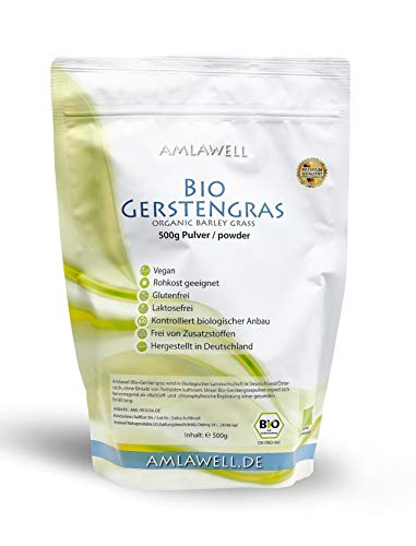 AMLAWELL Bio Gerstengras Pulver - 500 g veganes Bio Gerstengraspulver mit hohem Ballaststoffgehalt und Vitalstoffen