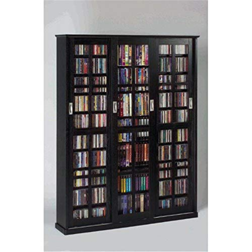 Big Sale Best Cheap Deals Leslie Dame MS-1050B Mission Style Multimedia Storage Cabinet with Sliding Glass Doors, Black
