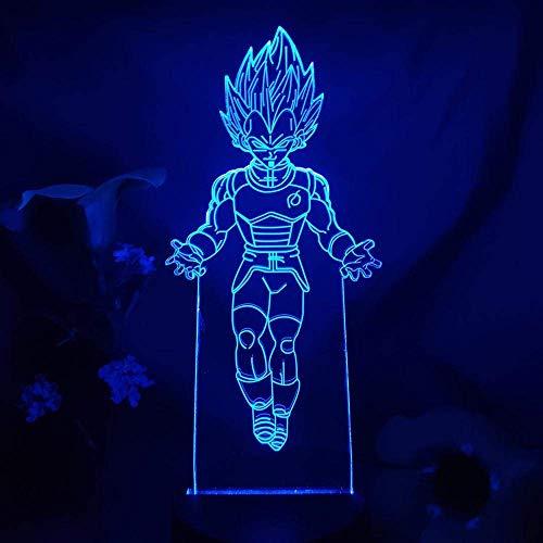 Dragon Ball Vegeta IV Figura MANGA Arte LED Luz de noche Luz 3D Illusion Touch Lámpara de sensor de tacto Decoración para el hogar Niños Niños Habitación Lámpara de cama negra Base_7 Color Sin control