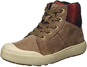 KEEN Women's Elena Mid Height Ankle Boot Hiking, Chestnut/Plaza Taupe, 9