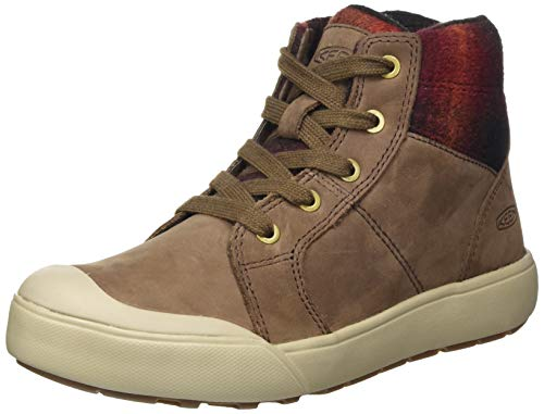 KEEN Women's Elena Mid Height Ankle Boot Hiking, Chestnut/Plaza Taupe, 8
