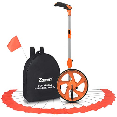 Distance Measuring Wheel with Marking Flags, Zozen Measure Wheel Collapsible Industrial Measuring Wheel in Feet and Inches with Carrying Bag