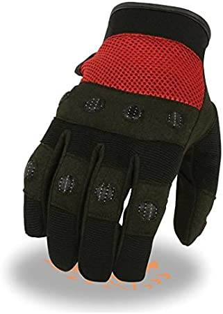 Black, M Mens Padded Knuckle Mechanics Glove w// Amara Palm