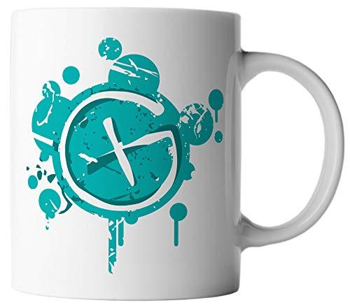 vanVerden Tasse Geocaching Logo Dirty Paint Geocacher, Farbe:Weiß/Türkis