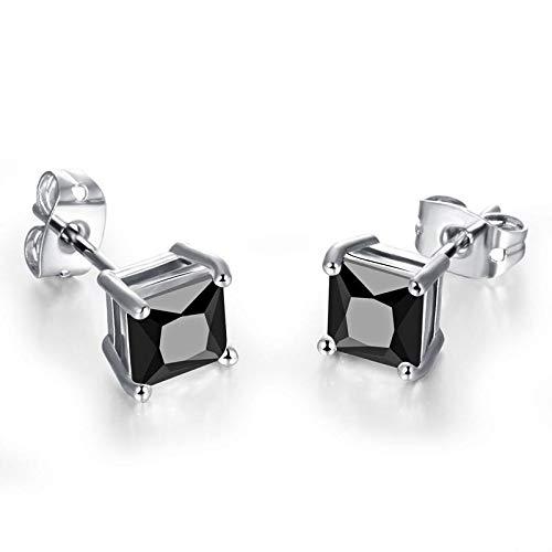 1 par de zirconia cúbica pendiente titanio acero negro piedra cuadrado Stud pendientes para hombres Punk Rock joyería