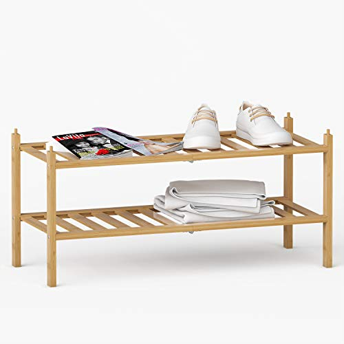BAMEOS 2-Tier Shoe Rack,Bamboo Stackable Shoe shelf Storage...