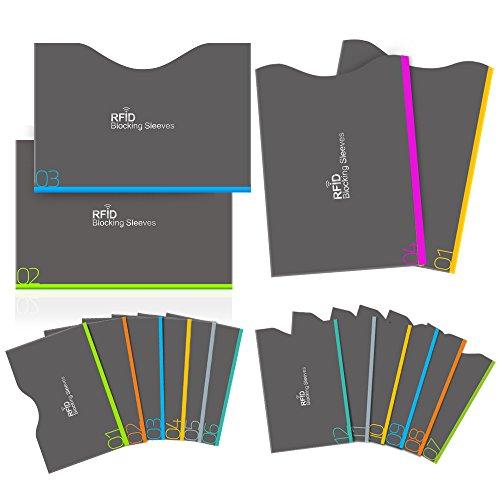 Protezione RFID, Aerb 16-Pack RFID blocco carta di Credito/Debito e protezione Passaporto - Isolamento del chip RFID senza contatto e protezione NFC[12 blocco carta di credito e 4 blocchi passaporto]