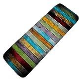 """YJBear Colorful Wooden Board Print Doormat Non-Slip Indoor/Outdoor/Front Door/Bathroom Mats Water Absorbent Soft Flannel Rectangle Entrance Mat Floor Mat Rug 20"""" X 47"""""""
