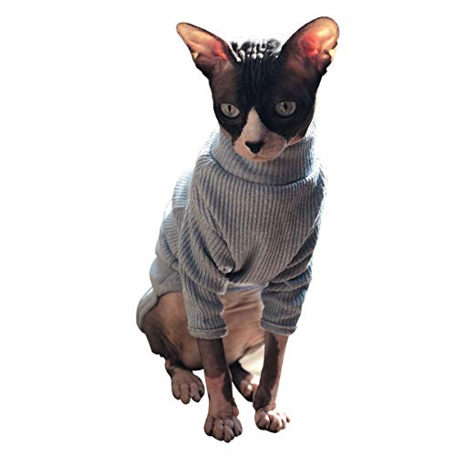 Bonaweite Hairless Cats Vest Turtleneck Sweater, Breathable Adorable Cat Wear Shirt Clothes, Cat's Pajamas Jumpsuit for Sphynx, Cornish Rex, Devon Rex, Peterbald