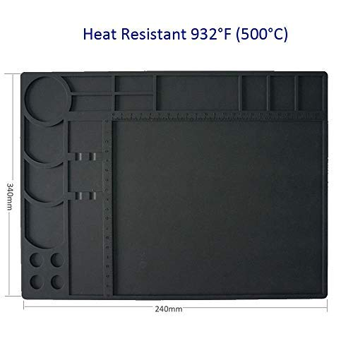 Soldering Mat Pad large Silicone Heat Resistant 932°F Welding Blanket Project Workbench Board Welding Blanket Electronics Mat for Heat Gun Soldering Iron Station Electronic Repair Kit (13
