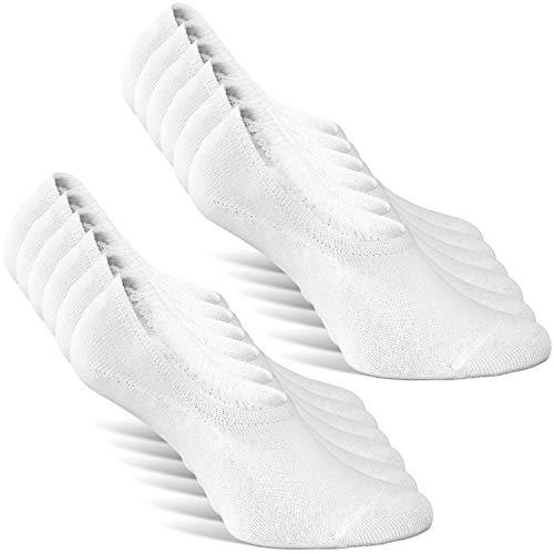 Classics ® Herren und Damen Unsichtbare Sneaker Socken (6er Pack) Großes Silikonpad Verhindert Verrutschen (6x Weiß, 39-42)