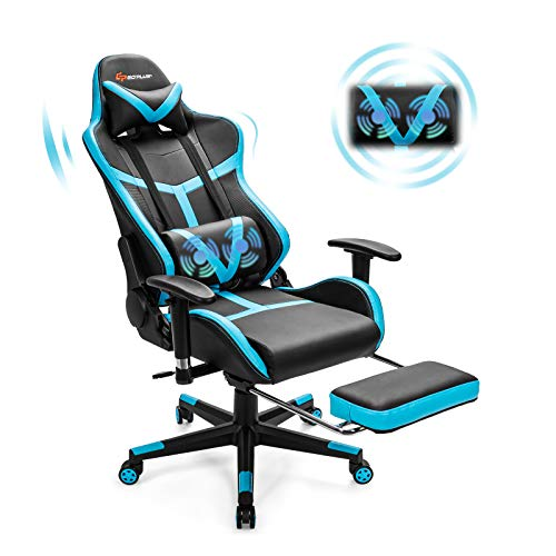 Goplus Gaming Chair, Massage Office Chair Computer Gaming Racing Chair, High Back PU Leather Adjustable Ergonomic Reclining PC Game Chair, Rolling Swivel Executive Chair with Footrest (Blue)