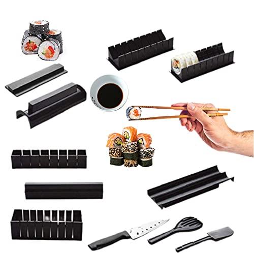 MUV Kit Sushi Maker con Coltello - Set Completo di 11 Pezzi per Cerchio, Cuore, Triangolo, Quadrato
