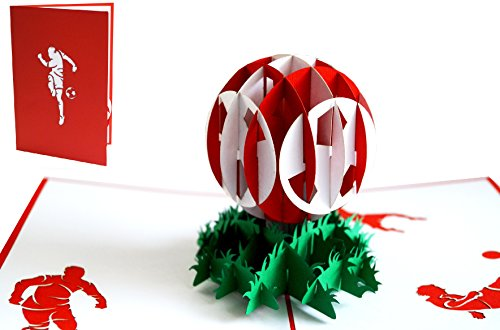 LIN 17549, Pop Up Karte Fußball, Pop Up Karte Geburtstag, Pop Up Geburtstagskarte, Stadion Gutschein, Rot Weiß, 3D Fußball Karte, Rot Weiß, N305